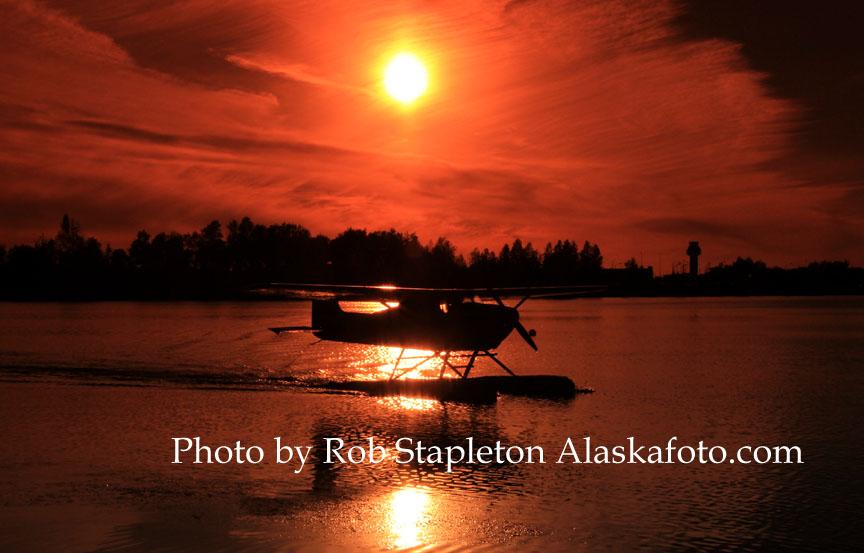 Alaska, Anchorage, Lake Hood Seaplane Base, aviation photography