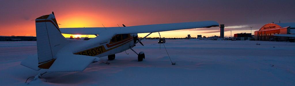 Merrill Field sunset aircraft - Alaska Air Cargo & portrait photographer l Alaskafoto - environmental portrait