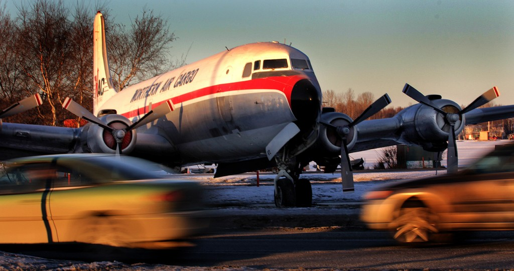 Alaska Aviation Museum DC-6 - Environmental portrait & Alaska photography l Alaskafoto - Alaska Air Cargo