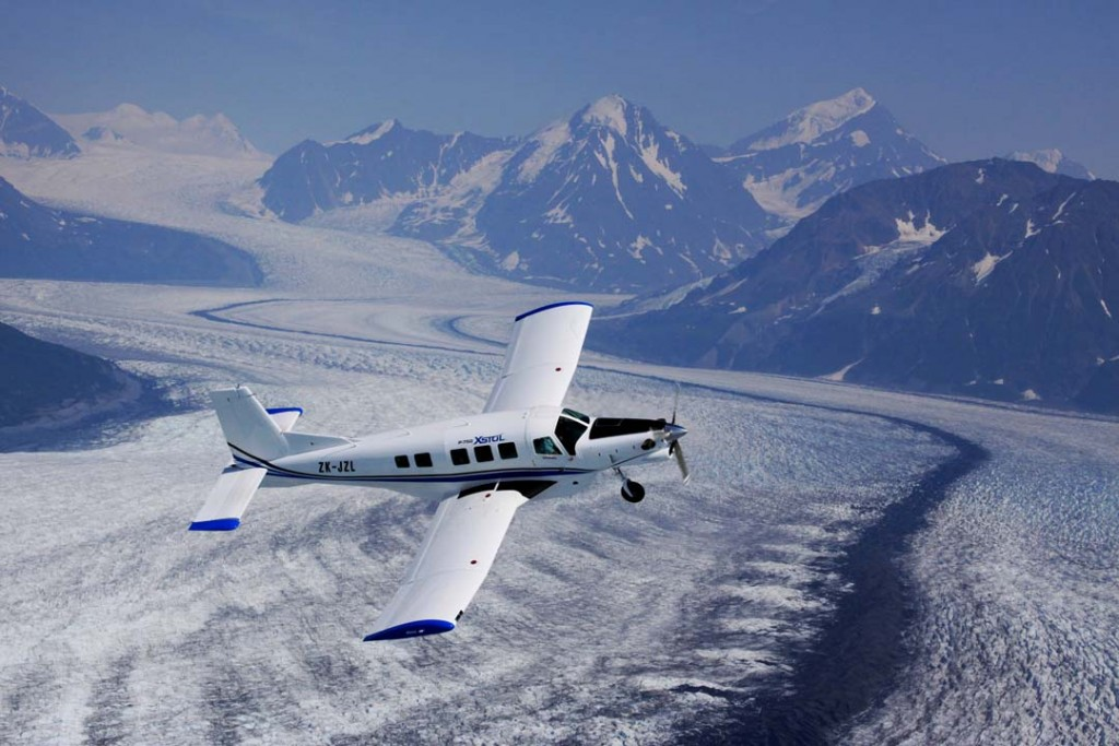 P-750 XSOL over Knik Glacier, Alaska - Alaska Air Cargo & Portrait photographers | Alaskafoto - Airplane photography