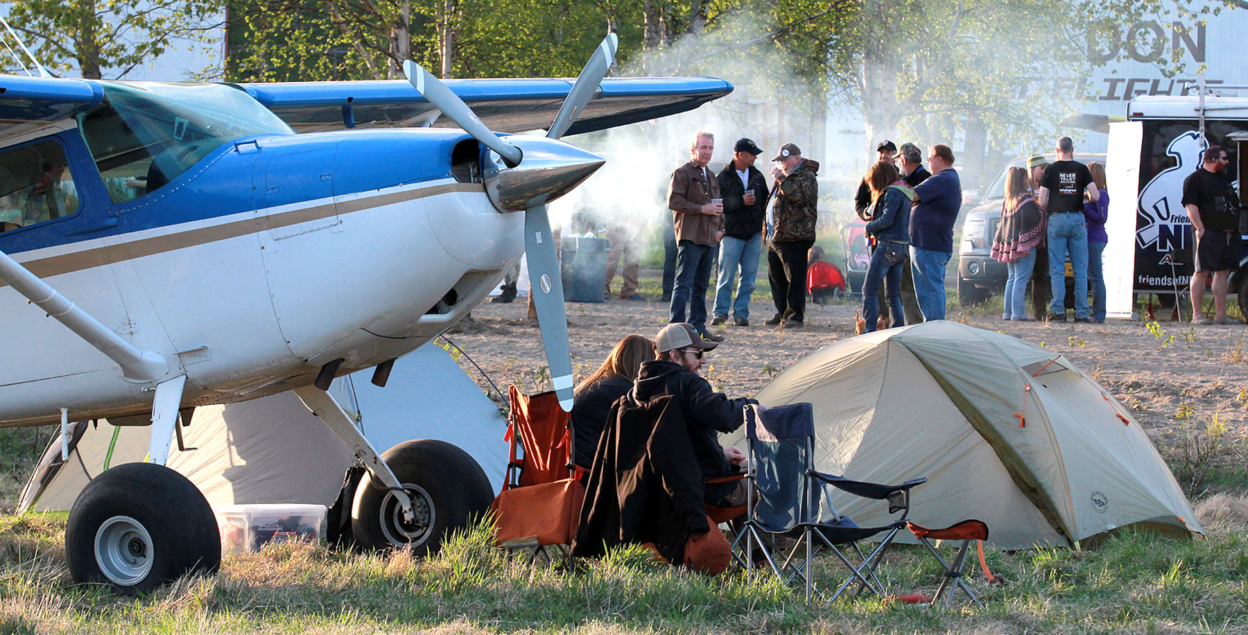 Couple camping out at Talkeetna Alaska. Photo Rob Stapleton