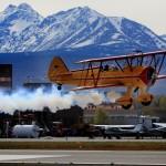 Stearman biplane take off | Alaskafoto - Aircraft Alaska photography & Alaska Air Cargo photography