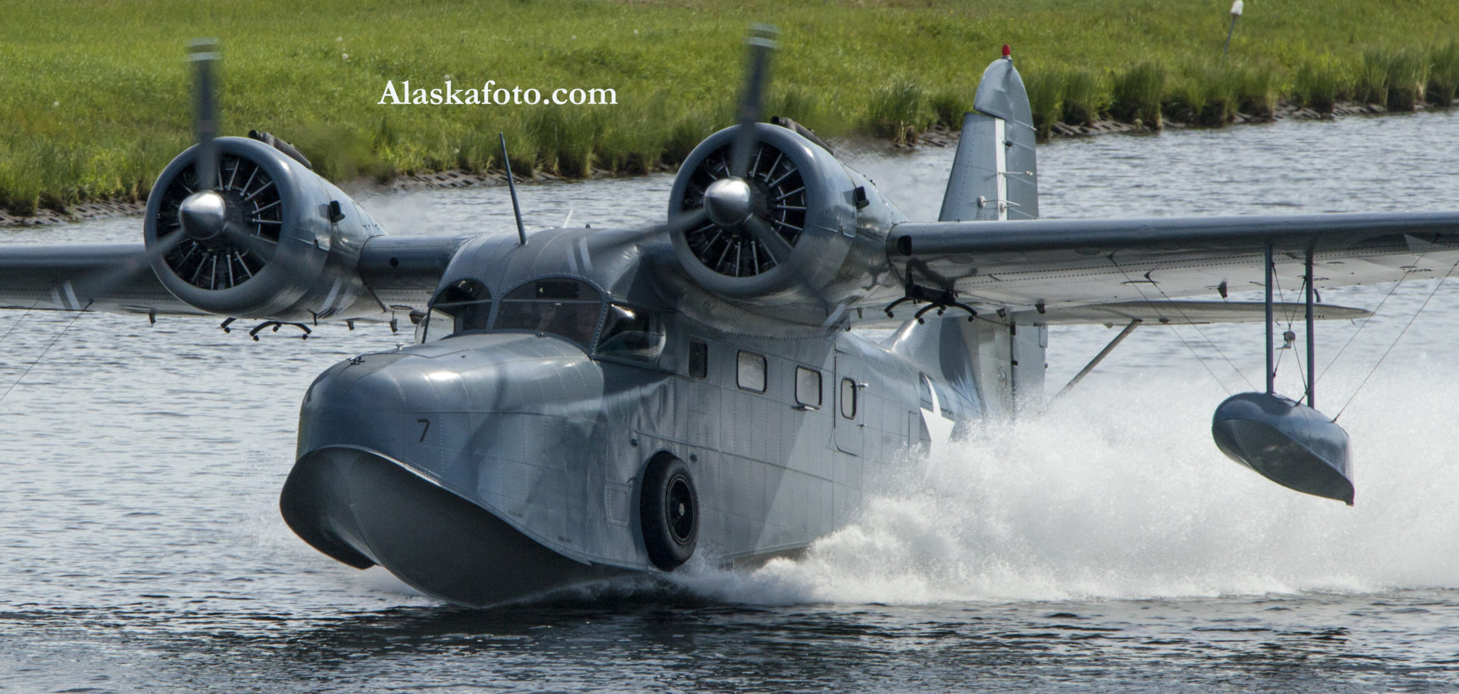 Amphibious aircraft landing on water