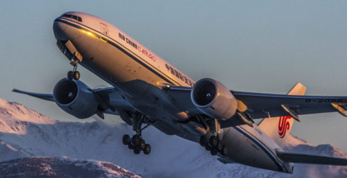 Alpine glow takeoff by Air China at ANC