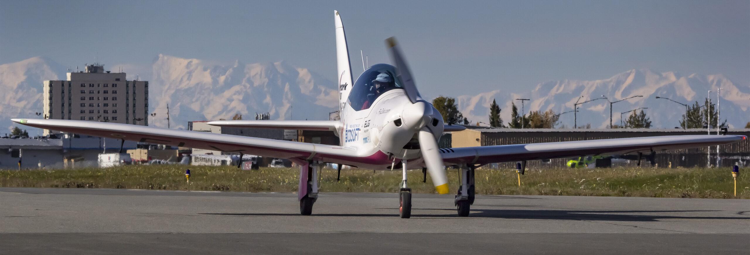 Aircraft taxing on at Merrill Field Alaska